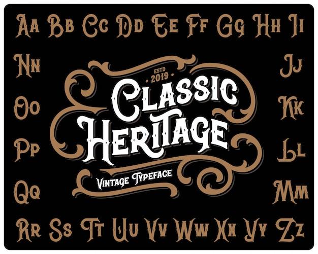 Set di caratteri heritage classico con ornamento decorativo