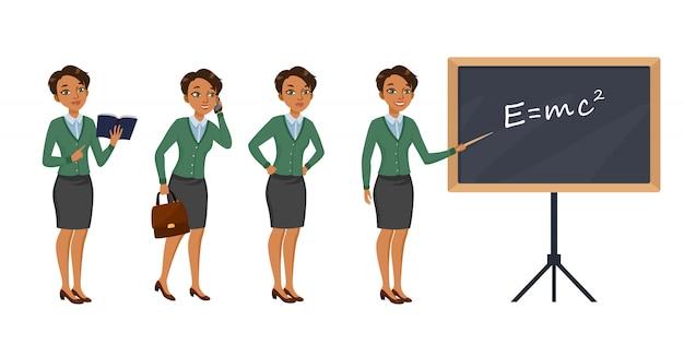 Set di caratteri insegnante femminile con diverse pose, emozioni