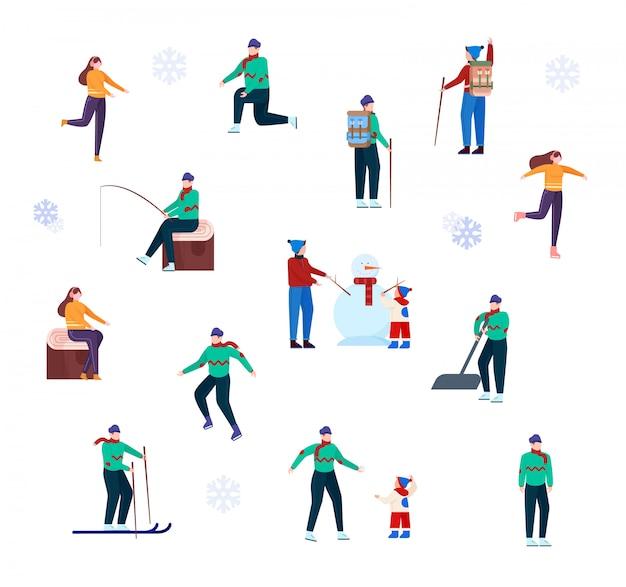 Set di caratteri invernali attività all'aperto