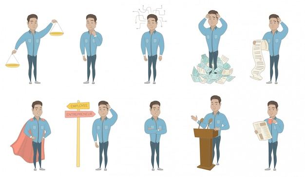 Set di caratteri ispanici uomo d'affari