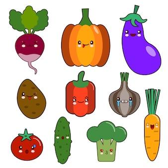 Set di caratteri kawaii di faccina di verdure. pepe, pomodoro, aglio, cipolla, peperoncino, patata, cetriolo piatto
