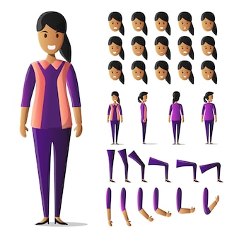 Set di caratteri kit casual femminile