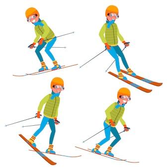 Set di caratteri maschili da sci