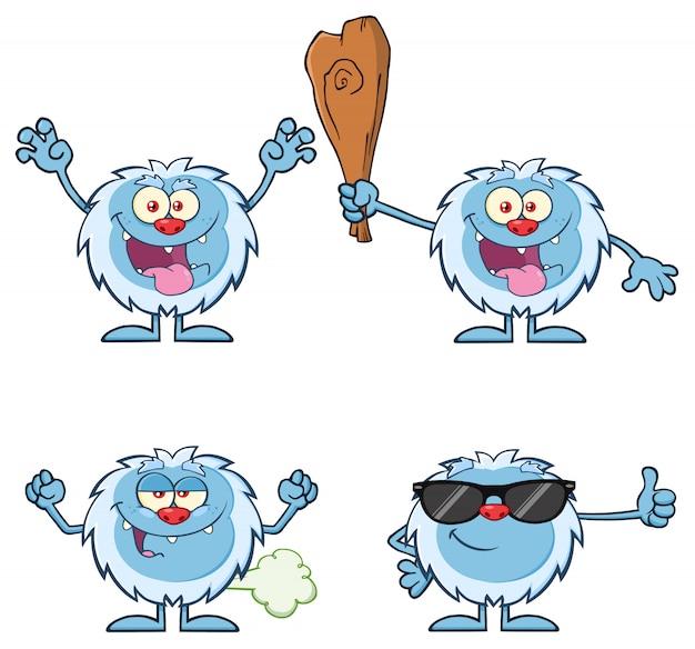 Set di caratteri mascotte simpatico cartone animato yeti