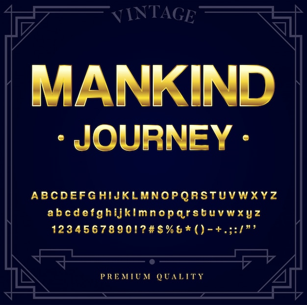 Set di caratteri metallici oro. lettere, numeri e caratteri speciali in