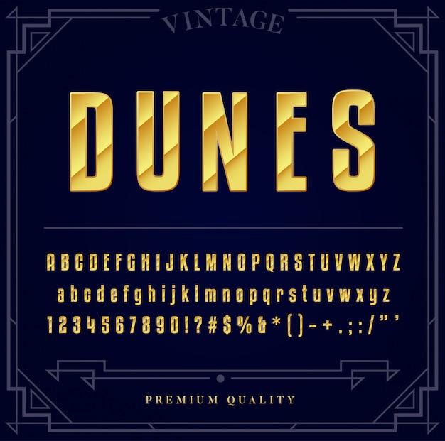Set di caratteri metallici oro. lettere, numeri e caratteri speciali.