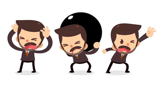 Set di caratteri minuscolo uomo d'affari nei guai. bisogno di aiuto.