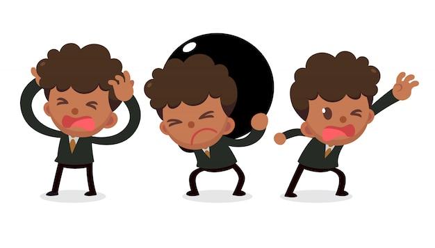 Set di caratteri minuscolo uomo d'affari nei guai. hai bisogno di aiuto a qualcuno.