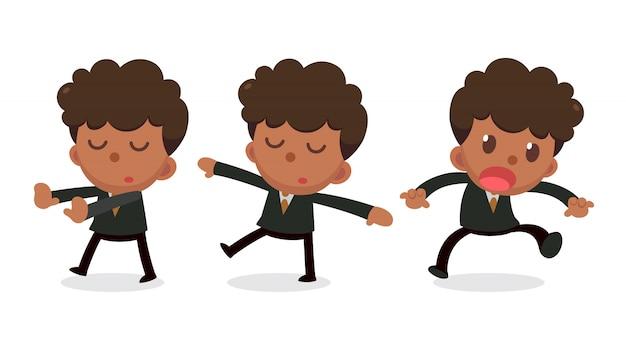 Set di caratteri minuscolo uomo d'affari nelle azioni. daydream.