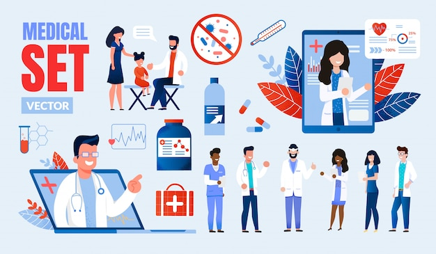 Set di caratteri multinazionali di professionisti del settore medico