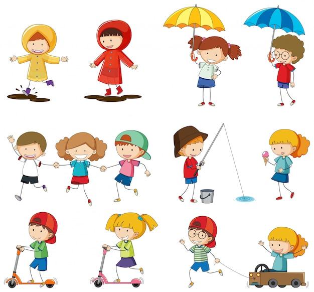 Set di caratteri per bambini doodle