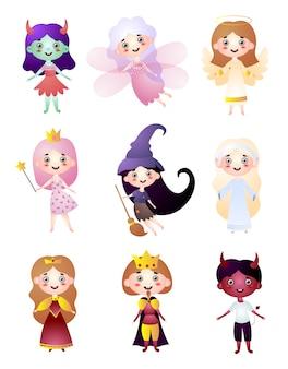 Set di caratteri per bambini in diversi costumi di vacanza