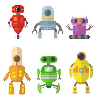 Set di caratteri robot piatto