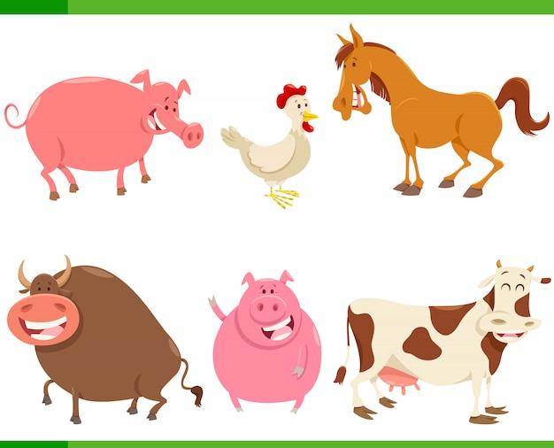 Set di caratteri simpatici animali della fattoria del fumetto