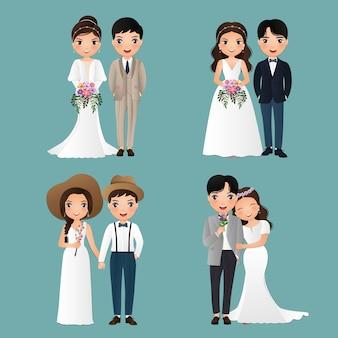 Set di caratteri sposa e sposo svegli. carta degli inviti di nozze. illustrazione di vettore nel fumetto delle coppie nell'amore