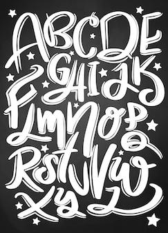 Set di caratteri tipografici disegnati a mano