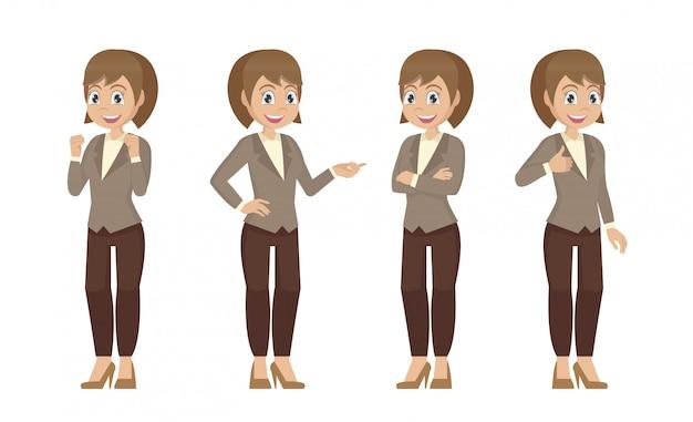 Set di caratteri un impiegato femminile. segretario in diverse pose.