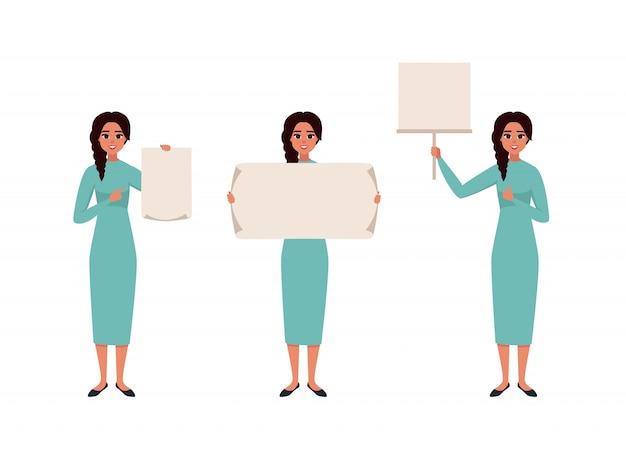 Set di caratteri una bella donna sorridente in abiti casual in diverse pose con un poster bianco.