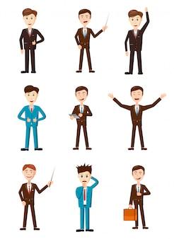 Set di caratteri uomo d'affari. cartoon set di uomo d'affari