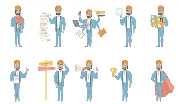 Set di caratteri uomo d'affari indiano