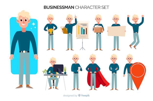 Set di caratteri uomo d'affari