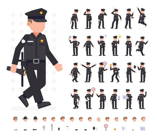 Set di caratteri uomo della polizia in diverse pose. illustrazione vettoriale piana. isolato