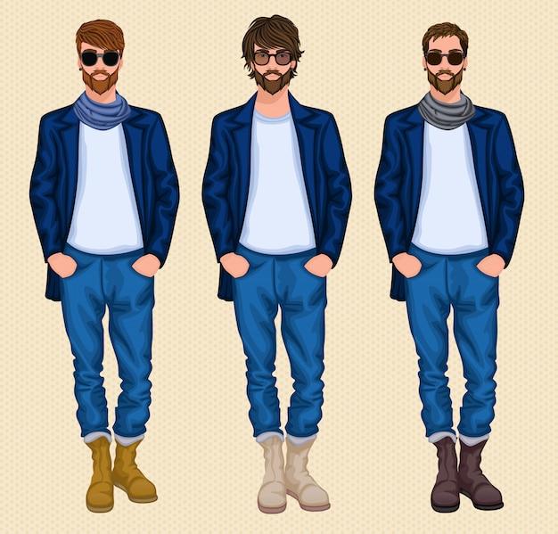 Set di caratteri uomo hipster