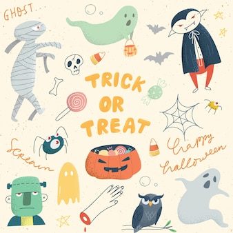 Set di carino halloween doodle