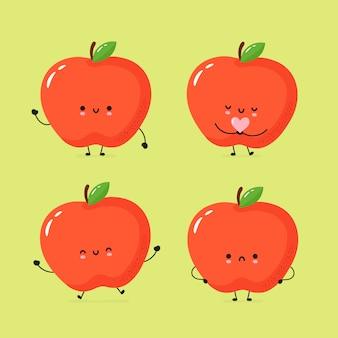 Set di carino mela felice e triste
