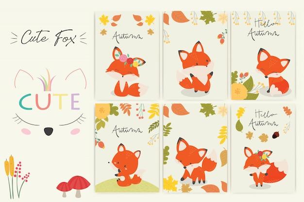 Set di carino volpe.
