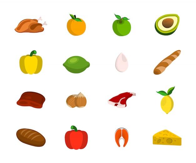 Set di carne, frutta, noci e verdure. icona del cibo. fumetto illustrazione vettoriale.