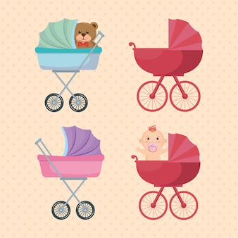 Set di carrelli per neonati