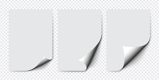 Set di carta con angolo arricciato con ombre morbide su sfondo trasparente. pagina di carta realistica. pagine a4 mock up.