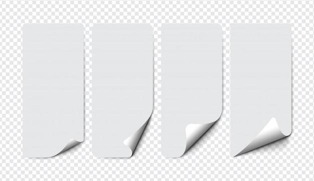 Set di carta con angolo arricciato con ombre morbide su sfondo trasparente.