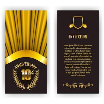 Set di carta di anniversario, invito con corona di alloro, numero.