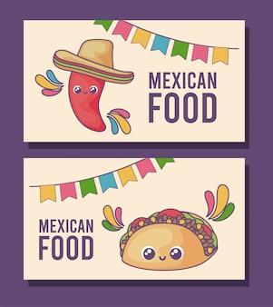 Set di carta di cibo messicano kawaii