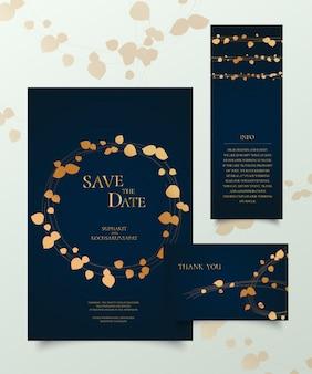 Set di carta di invito d'oro.