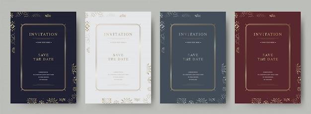 Set di carta di invito di lusso vintage