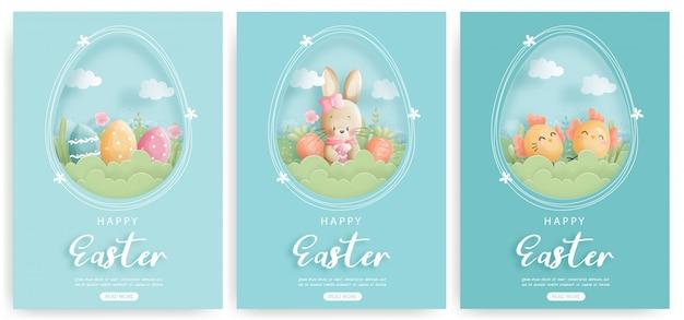 Set di carta di pasqua con coniglietti e uova di pasqua.