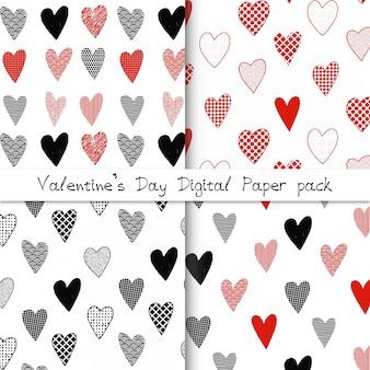 Set di carta digitale di san valentino con cuori di doodle