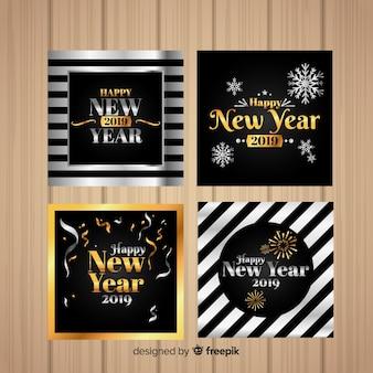 Set di carte 2019 oro e argento nuovo anno