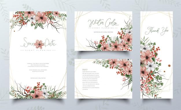 Set di carte acquerello con pittura floreale