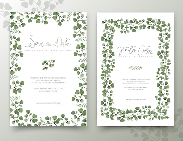 Set di carte acquerello foglie verdi.