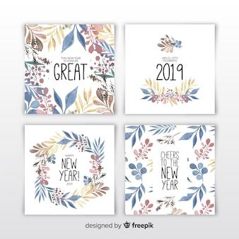 Set di carte acquerello nuovo anno 2019