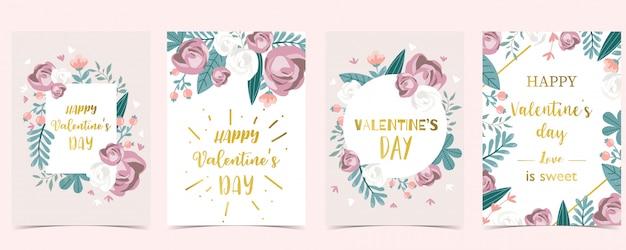 Set di carte amore con foglie, fiori, nastro