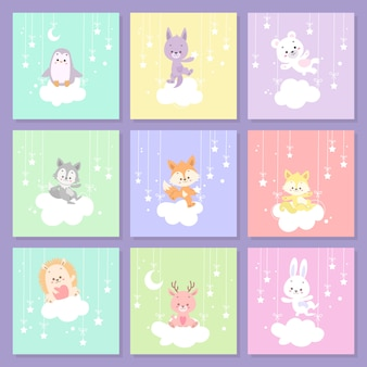 Set di carte animali carino