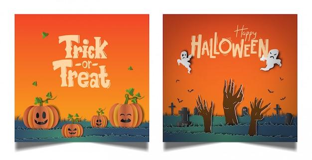 Set di carte arancione di halloween