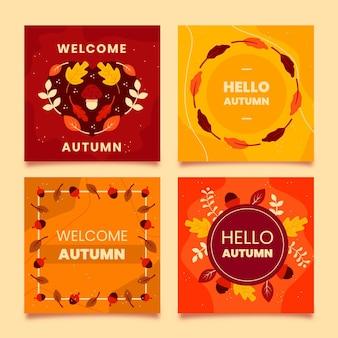 Set di carte autunnali design piatto