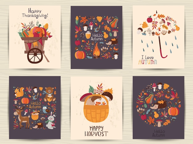Set di carte autunno del ringraziamento