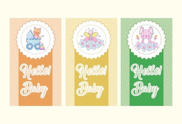 Set di carte baby hello su colori colorati